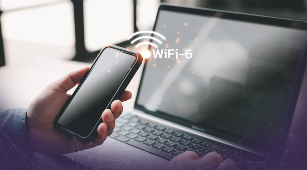 A smartphone and laptop conntected to WiFi 6